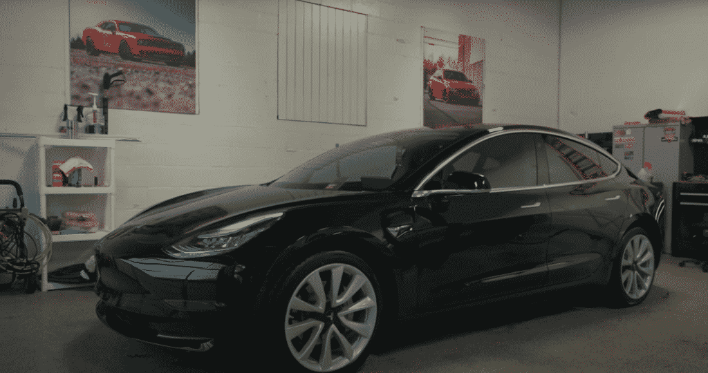 Black Tesla car with finished window tint film
