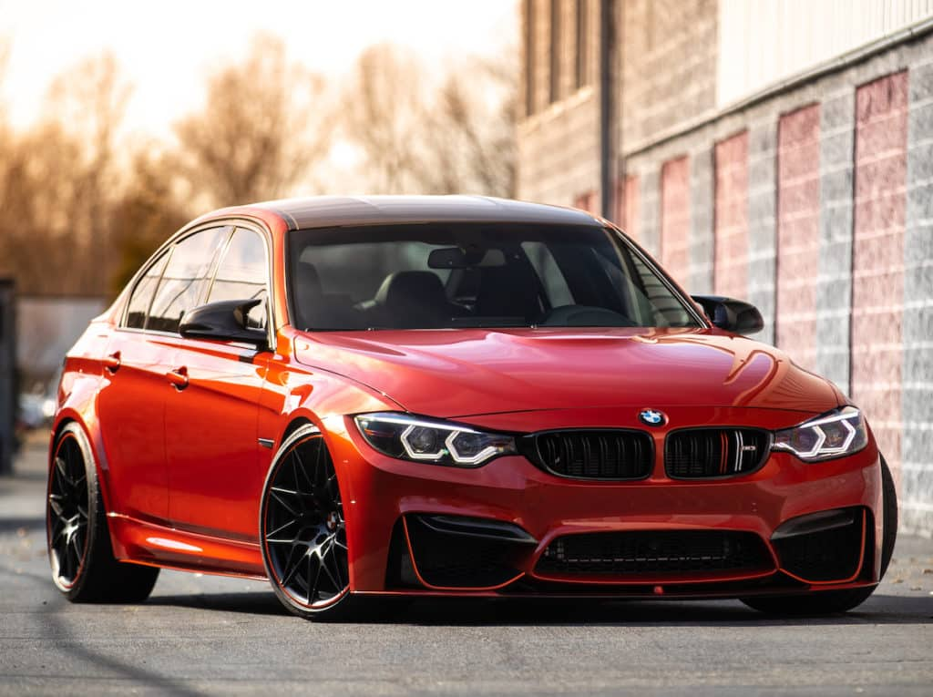 a red bmw with new paint protection