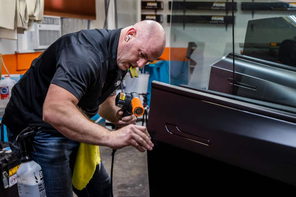 paint protection film on a car